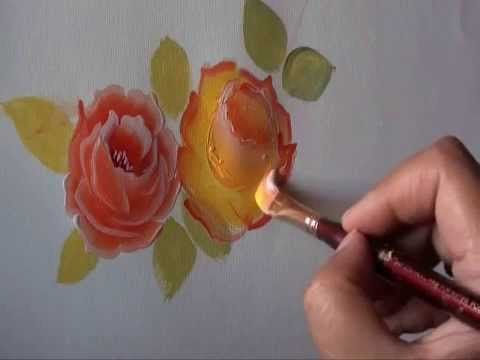 Rose painting - a simple way - tutorial 10 - YouTube