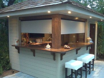 outdoor kitchen with shutters | Shutters on Outdoors Bar contemporary-roller-blinds