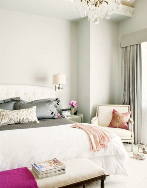 Beautiful: Grey Bedrooms, Interior, Chair, Bedroom Perfection, Color, Feminine Bedroom, Pop, Pink