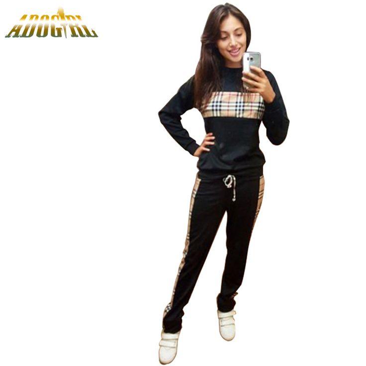 Adogirl Moda sistema Ocasional de Las Mujeres 2016 Otoño/Invierno Europa Impresión de la Tela Escocesa Ocasional de La Manga Completa Y Pantalones Para Damas Trajes Sportwear