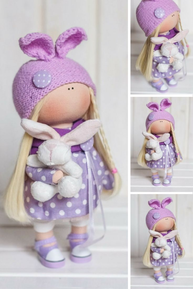 Bunny doll Tilda doll Violet doll Rag doll Art doll Winter doll Cloth doll Fabric doll Interior doll Handmade doll Textile doll