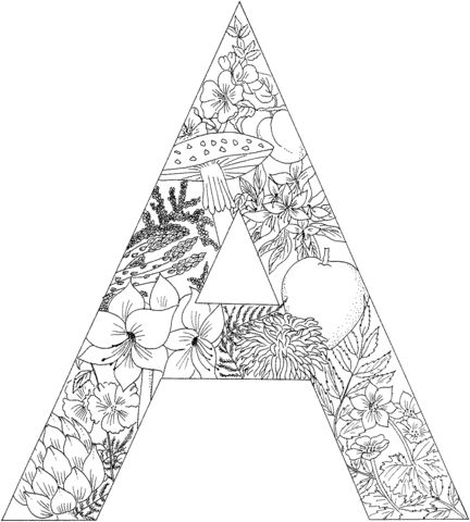 letter a with plants coloring page from english alphabet with plants category select from 26288 - A Colouring Pages