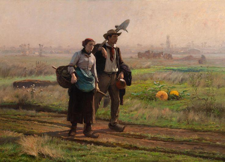 Brožík Václav: Cestou do polí (Říjnové ráno), 1891