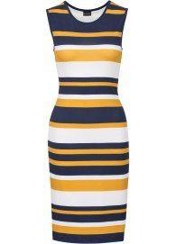 Shirtjurk donkerblauw/wit/zonnegeel gestreept - Voor haar - bonprix.nl