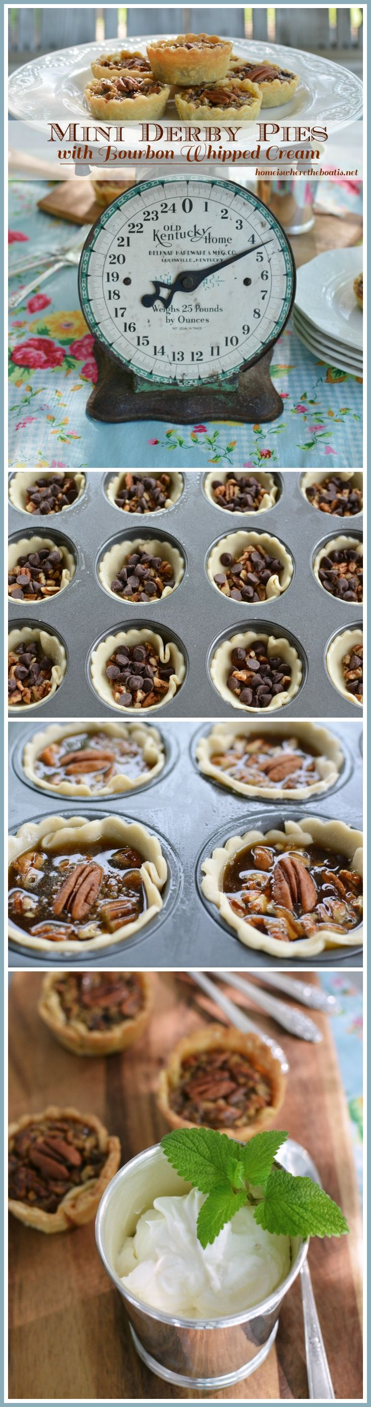 Mini Derby Pies with Bourbon Whipped Cream   homeiswheretheboatis.net #KentuckyDerby #dessert #recipe #muffintin