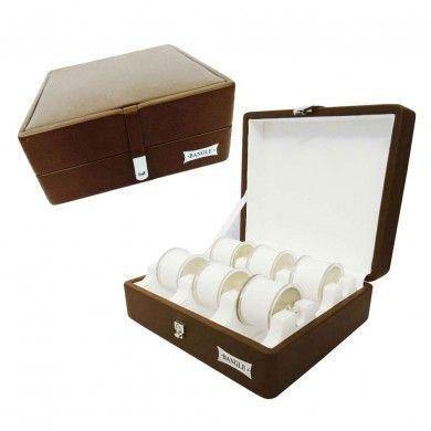 6 Stands Bangle Bracelet Jewelry Case Brown Leather Organizer Bangle Jewelry Box