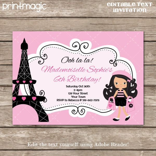 25 best paris invites images on pinterest paris party parisian pink paris birthday party invitation shopping party invitation paris invitation instant download personalize at home in adobe reader solutioingenieria Choice Image