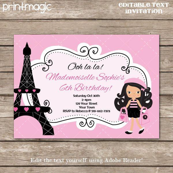 25 best paris invites images on pinterest paris party parisian instant download pink paris party invitation by printmagic 795 solutioingenieria Choice Image