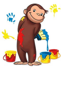 Curious George loves painting!