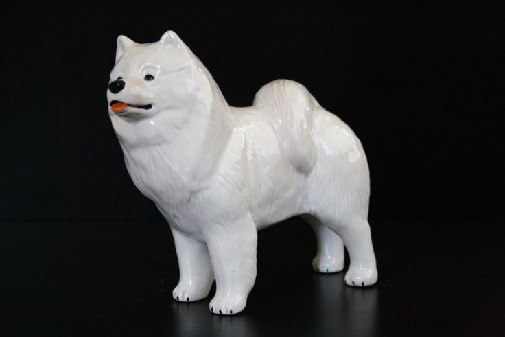 Samoyed dog ceramic figurine handmade statue by RussianArtDogs on Etsy