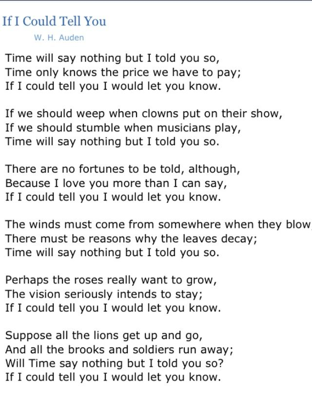 If I Could Tell You by W.H. Auden Analysis