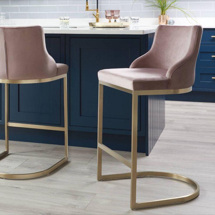 form blush pink barstool with backrest  brass bar stools
