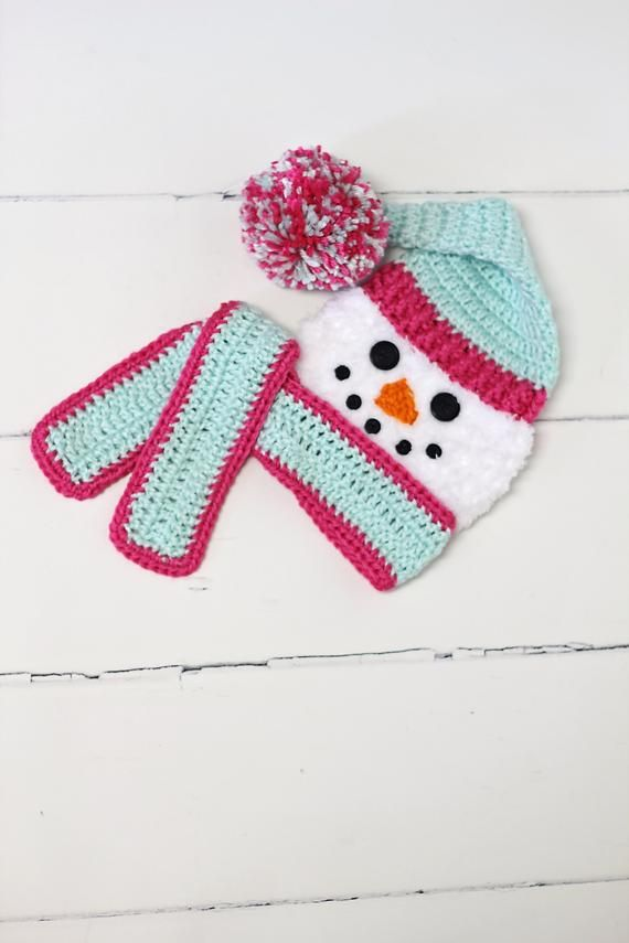 Newborn Snowman Cocoon Pink Mint Matching Hat And Scarf Crochet