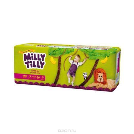 """Milly Tilly Подгузники дневные """"Junior"""", 11-25 кг, 34 шт  — 765р.  Нежный материал дневного подгузника """"Milly Tilly"""" в виде сот прилегает к коже и дарит малышу невероятный комфорт. Данная структура верхнего слоя в виде сот позволяет свободно циркулировать воздуху внутри подгузника. Эластичные поясочки надежно фиксируют его, при этом не стесняют движений малыша. Нежные оборочки сделаны из трех мягких резиночек, которые не натирают ножки. Застежки """"Magic Fix"""" - настолько крепкие, что их можно…"""