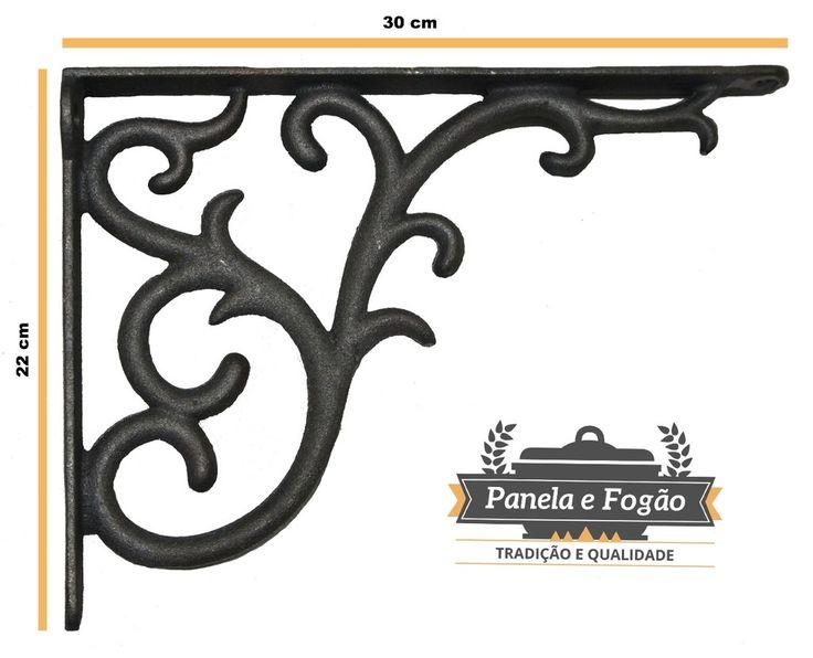 Cantoneira Rústica Francesa Ferro Fundido Prateleira 22 X 30