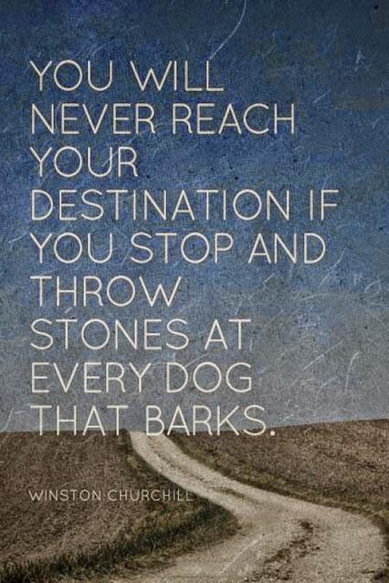 You will never reach your destination if you stop and throw stones at every dog that barks. - Winston Churchill #quotes
