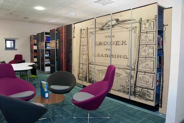 Artwork on compact shelving units, Fountains Learning Centre, York St John University aka work