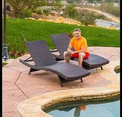 pool lounge chairs chaise toscana brown patio furniture garden wicker set of 2