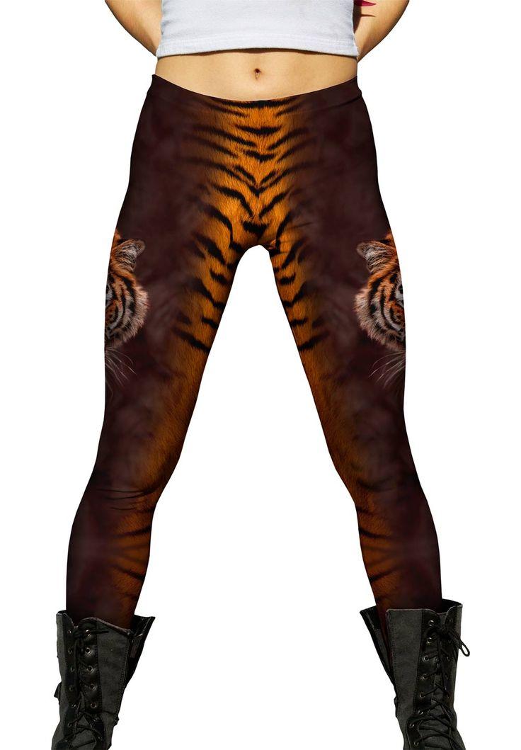 Tiger Half Skin #wild #print #giraffe #zebra #yizzam #skin #wildlife #nature #animallove #iloveanimals #tshirt #sublimation #usa #tiger #brown #leggings #Tight