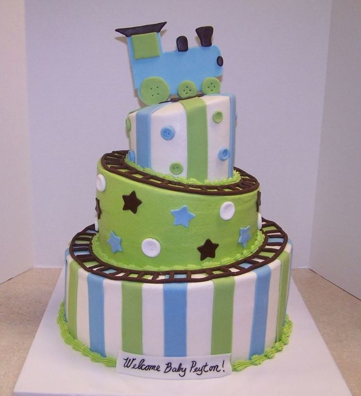 Superior Train Baby Shower Cake Part - 1: Whimsical Train Baby Shower On Cake Central