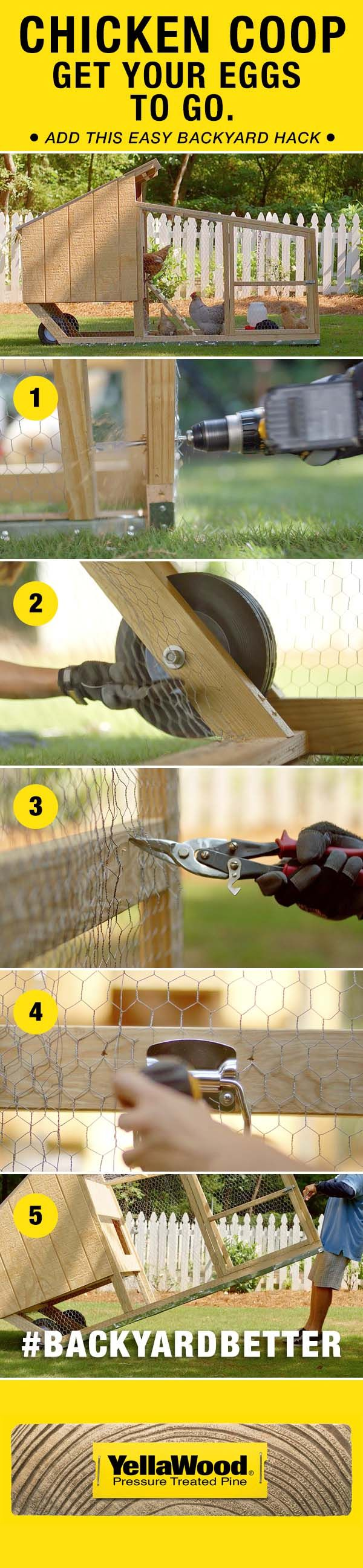 Get your eggs to go with this easy chicken coop backyard hack. #backyardbetter