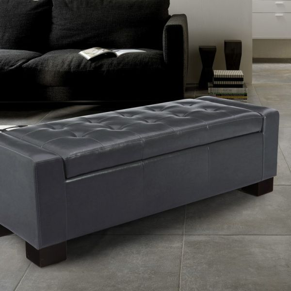 Adeco Dim Grey Bonded Leather Tufted Accents Rectangular Storage Bench Ottoman Footstool
