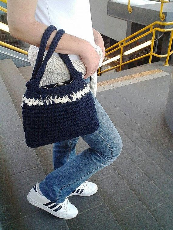 Blue handmade bag Crochet handbag Navy style bag by MariliartbyM