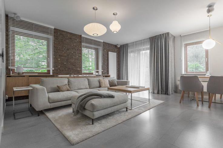 brick wall livingroom, nelson saucer lamps