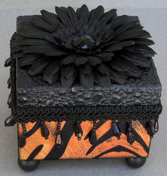 Chic Tiger Leopard Print Keepsake Decorative Jewelry by funkyart08, $32.00