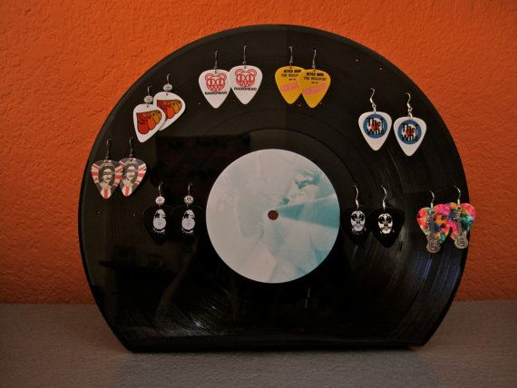 ROCK N ROLL Vintage Vinyl LP Record Earring Holder by PopLifeArts, $18.00