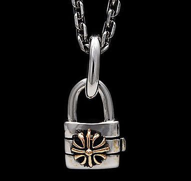 GOLD COLOR CROSS LOCK 925 STERLING SILVER PENDANT gs-130