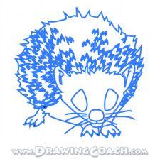 how to draw a cartoon hedgehog step by step