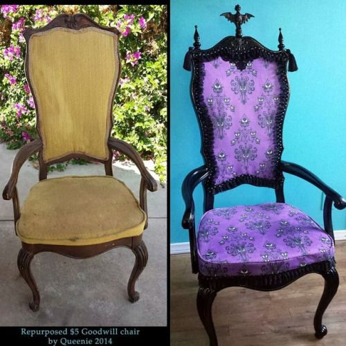 Repurposed chair,  $5 chair from the Goodwill, transformed into a fabulous one of a kind Mansion chair.