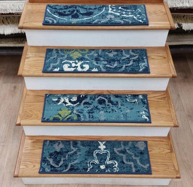 "Rug Depot 13 Transitional Carpet Stair Treads 26"" x 9"" Staircase Rugs Blue Poly #RugDepot #Transitional"