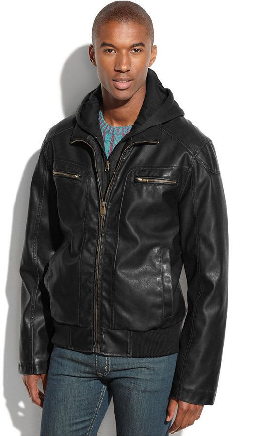 $69, Black Leather Bomber Jacket: Sean John Hooded Faux Leather Bomber Jacket. Sold by Macy's. Click for more info: https://lookastic.com/men/shop_items/188569/redirect