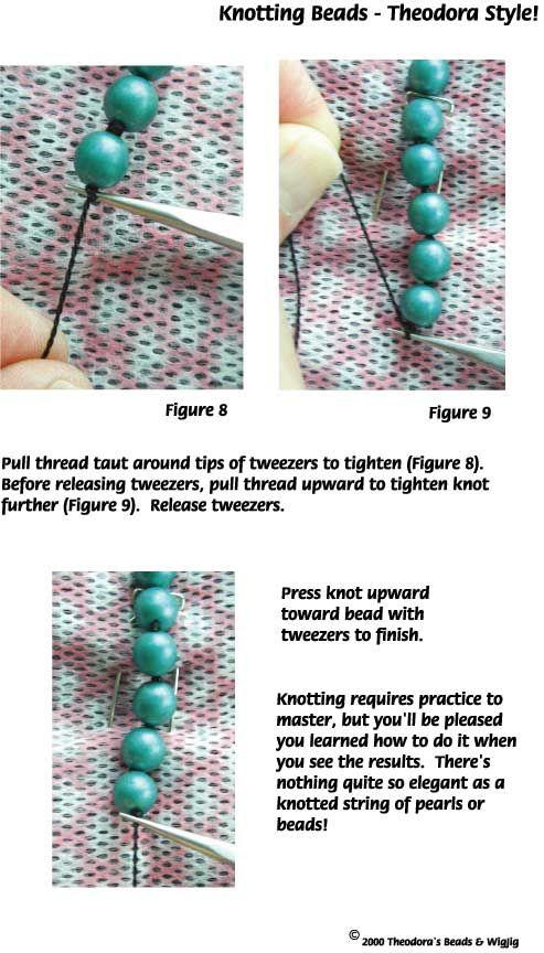 Instruções para fazer jóias por atar entre cada talão quando contas fio.