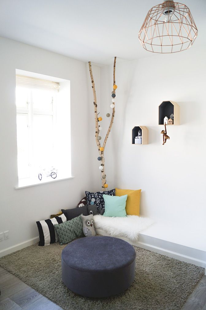 kidsroom, pillows, reading corner, trees with happy lights, scandinavian, scandistyle, interior