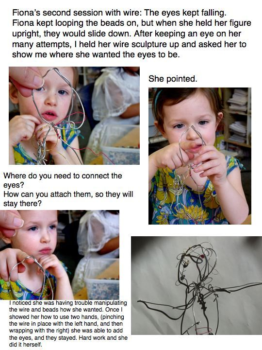 Marla McLean, Atelierista » Great overview of how to intentionally follow the learning timelines of children's explorations with wire.