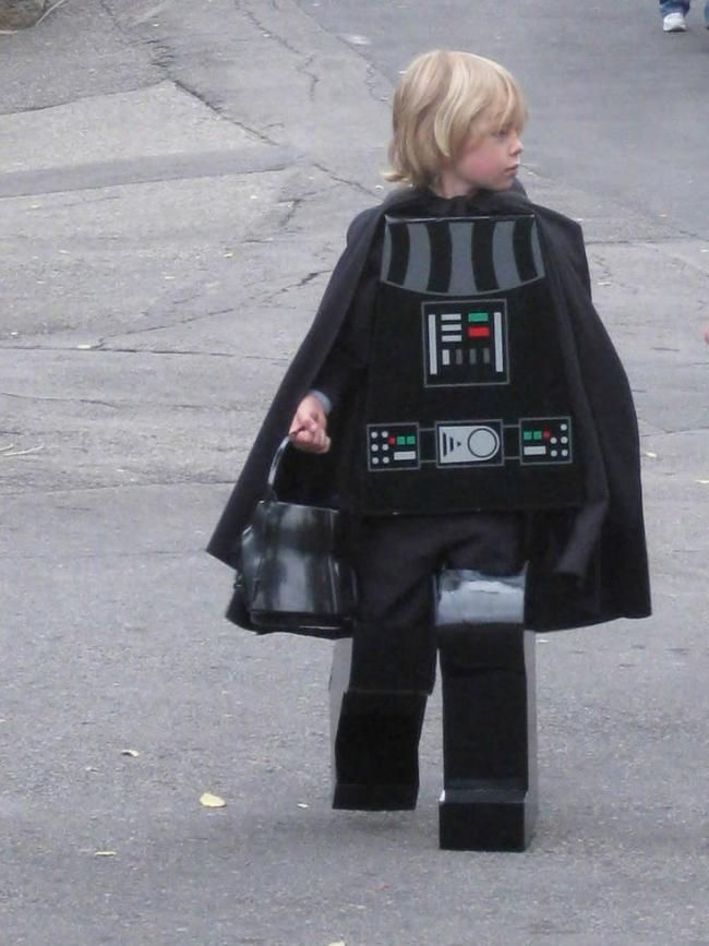 A Homemade Lego Style Darth Vader Costume For Kids