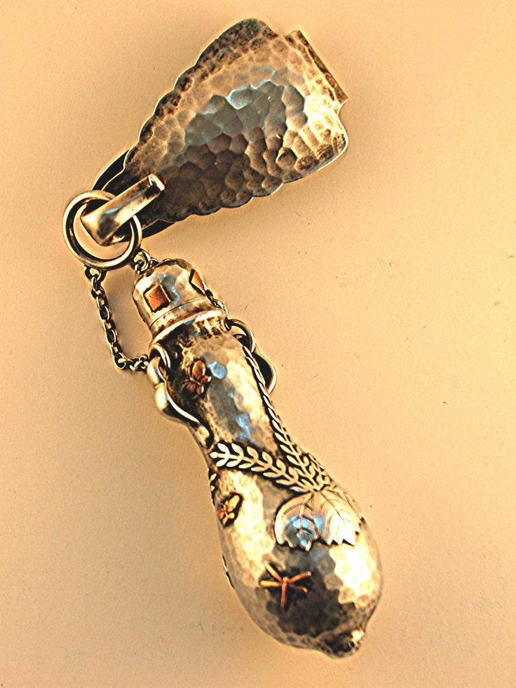 Tiffany Sterling Scent Bottle (Jewelry) Designer/Maker:Edward C. Moore circa 1880 :: Applied objects include a dragonfly and butterfly. This design form is referred to as Japanesque, indicative of the Japanese influence on the arts after Commodore Perry's opening in the early 1850's. Read More ..