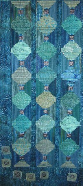 Asian Lanterns by Sarah Kaufman, Bend Oregon. Aqua Green and Aqua Blue.