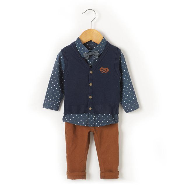 Compre Conjunto com 3 peças, camisa, colete e calças Bebé menino na La Redoute. O melhor da moda online.