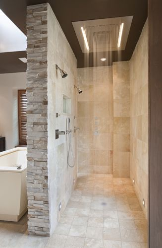 Walk through shower..... Fantastic open concept & easy to clean. No messy glass doors or shower curtains to worry about! This is what I want in my bathroom!!!!!