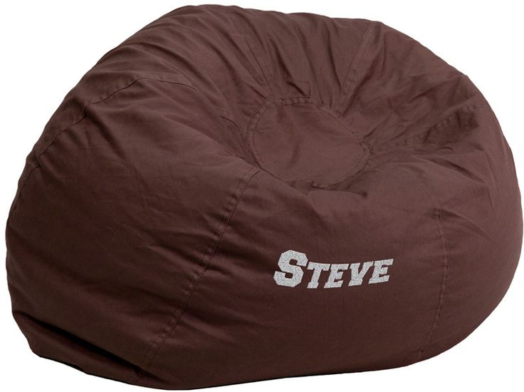 Flash Furniture DG-BEAN-LARGE-SOLID-BRN-TXTEMB-GG Personalized Oversized Solid Brown Bean Bag Chair