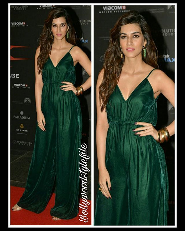 Kriti Sanon   she looks stunning in Green Jumpsuit for #xxxthereturnofxandercage India premiere.  Jumpsuit by @lolabysumanb  Sandals by @dune_london_india  Jewelry by @minerali_store  Styled by by @sukritigrover @style.cell #Instabollywood #instantbollywood #bollywood #bollywoodreport #kritisanon