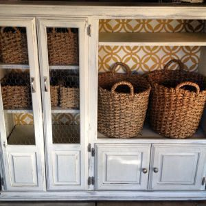 For our entertainment center: Large baskets for the spot where the tv used to go.