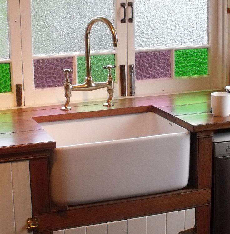 belfast sink fireclay 250mm deep with overflow - Kitchen Sink Porcelain