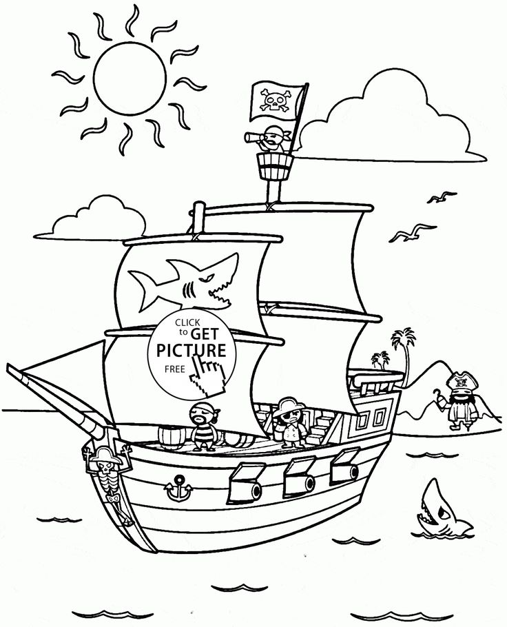 Cartoon Pirate Ship coloring page