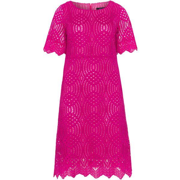 navabi Berry-Purple Plus Size Wavy hem lace dress (190 CAD) ❤ liked on Polyvore featuring dresses, plus size, plus size lace dress, pink lace dress, short-sleeve lace dresses, pink dress and pink knee length dress