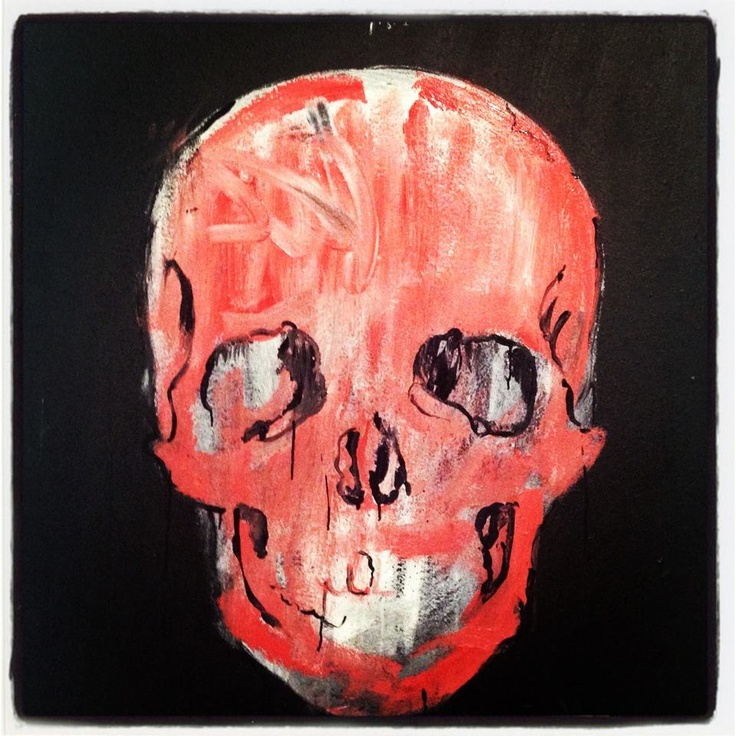 Skull - acrylic on wood